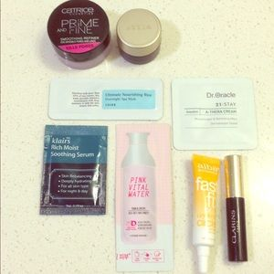 Clarins Tarte Catrice bundle with skincare samples